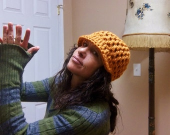 CHUNKY HAT Handmade Crochet Hat with Bill Soft Wool Blend * ORanGE * Womens Hat Mens Hat