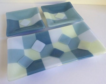 Fused Glass Serving Set in Blues and Green