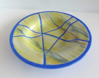 Cobalt Blue and Yellow Streaky Fused Glass Dish or Bowl by BPRDesigns