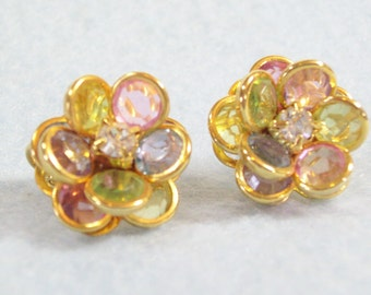 Avon Pastel Crystal Rhinestones Flower Clip Earrings Bezel Set Gold Plated Vintage 70s