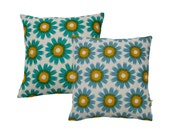 """Hand Printed Organic Cotton Pillow / Cushion Cover 18"""" Bloom"""