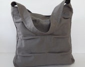 Sale - Grey Canvas Bag, shoulder bag, tote, purse, handbag, unique, stylish, messenger bag - Lisa