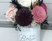 Small arrangement made with Sola flowers - choose your colors - balsa wood - Alternative bouquet - Wedding Decor - Centerpiece