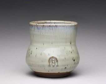 handmade ceramic cup, pottery teacup, yunomi with light blue and creamy white wood ash glazes