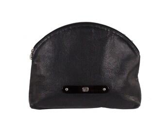 FENDI VINTAGE Navy Blue Leather Clutch Handbag Cosmetic Bag w/ Lucite Detail DQ