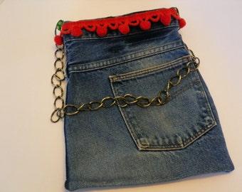 Denim Shoulder Half Bag with Chain Strap