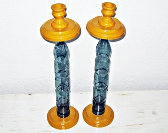 Taper Candle Holder, Golden Yellow, Blue Grey, Wooden, Glass Bottle,  Blue, Grey, Golden Yellow, Rustic Decor, Handmade