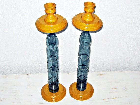 Taper Candle Holder, Golden Yellow, Blue Grey, Wooden, Glass Bottle,  Blue, Grey, Golden Yellow, Rustic Decor, Handmade