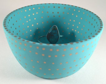 Polka Dot Turquoise Jewelry Holder, Engagement Ring Holder, Ring Dish, Made to Order, Trinket Dish, Jewelry Box, Jewelry Holder, Turquoise