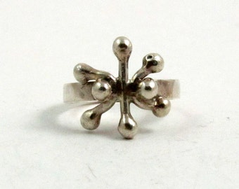 Vintage Sterling Silver Snowflake Modernist Ring, US 6, UK L Half, British Hallmarked London 1971