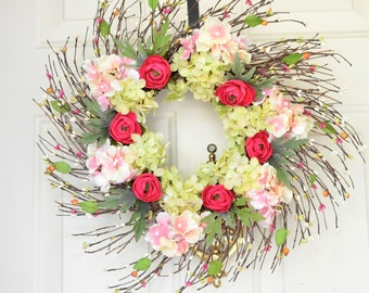 Spring Floral Wreath Summer Door Wreath Pink Ranunculus Pink green hydrangea Front Door Decor Spring twig wreath