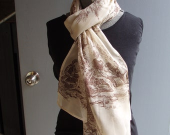 French Toile Print Silk Scarf