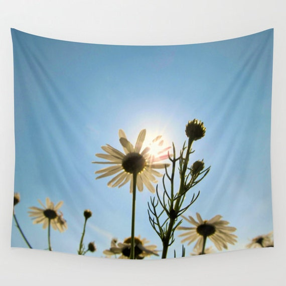 DAISIES Wall Tapestry, Blue Sky Wall Art , Nature Fine Art Photography, Modern, Home, Flowers Tapestry, Dreamy,Sunny Tapestry,Happy Tapestry