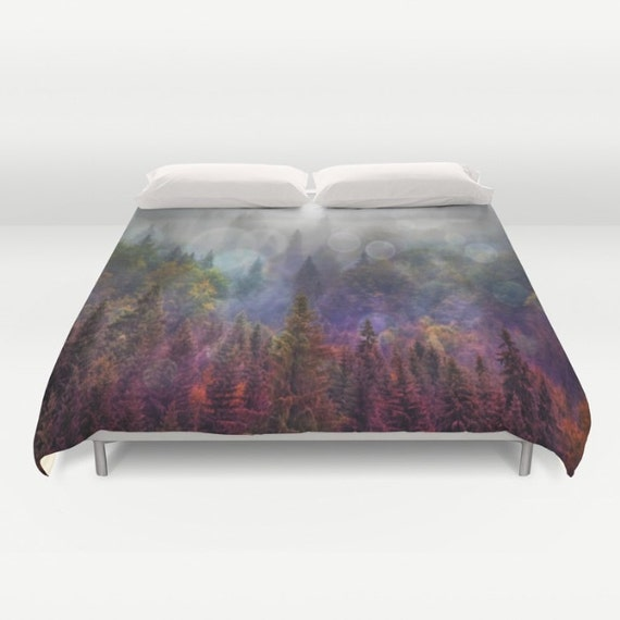 Four Seasons Forest  Duvet Cover, In The Woods, Evergreen Bedding, Woodland Bedding, Unique Design, Comforter Cover, Scenic Bedding, Nature