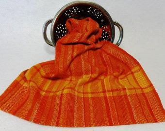 Handwoven Cotton/Linen Towel for Kitchen or Bath, Woven Towel, Hand Towel, Kitchen Towel, Handwoven Towel, Orange Towel - #15-23B