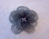 Slate Gray Fabric Rhinestone Beaded Flower Applique Organza Rose Bridal Pageant Hat Corsage