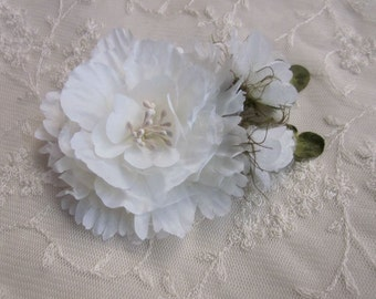Antique White Organza Peony Rose Flower w Rose Bud Bridal Hair Accessory Pin