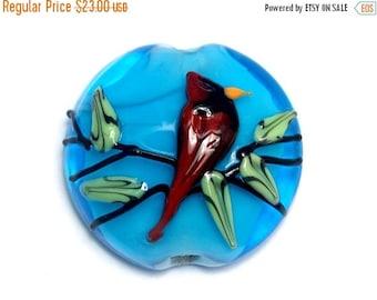 ON SALE 50% OFF 11834502 Summer Red Cardinal Lentil Focal Bead - Handmade Glass Lampwork Bead