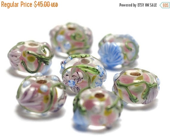 ON SALE 50% OFF Handmade Glass Lampwork Bead Set - Seven Light Pink w/Blue Floral Rondelle Beads 11005401