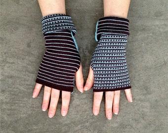 Arm Warmers Merino Mittens Striped Two-Sided Fingerless Gloves Unisex Muliticolor Women's Gloves Wrist Warmers Unisex Fashion