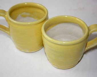 Stoneware Mug Pair Bright Yellow Hold over a Cup Special Price Hand Thrown Vermont Made