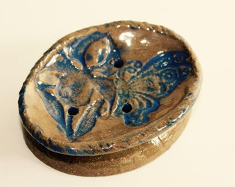 Pottery Soap Dish  Embossed with Lace Butterfly and Iris Applique For a Small Place