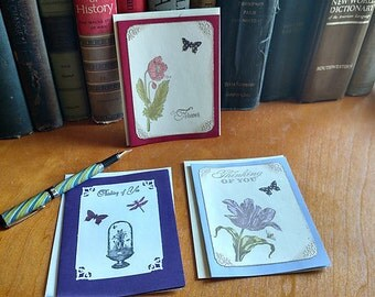 A2 Cards Set of 3 Vintage Floral Note Cards Sentiments of Love or Friendship