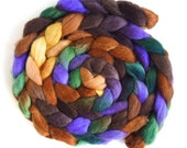 Polwarth/Silk Roving - Handpainted Spinning or Felting Fiber, Into the Woods