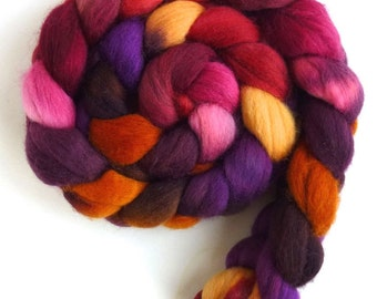 Corriedale Wool Roving - Hand Painted Spinning or Felting Fiber, Hot and Sweet