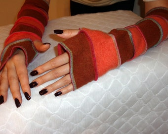 Cashmere arm warmers, fingerless gloves,upcycled cashmere gloves, handmade fingerless gloves warm, soft, eco friendly
