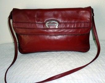 Etienne Aigner glam bag , clutch , satchel purse handmade genuine thick leather deep maroon vintage 70s pristine cond