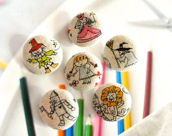 Handmade Wizard Of Oz Dorothy Lion Animal Children Story Fabric Covered Buttons Fridge Magnets, Flat Backs, 1.1 Inches 6's