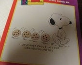 Leisure Arts Chocolate Chip 28008 Snoopy with Cookies Peanuts Character Counted Cross Stitch Kit