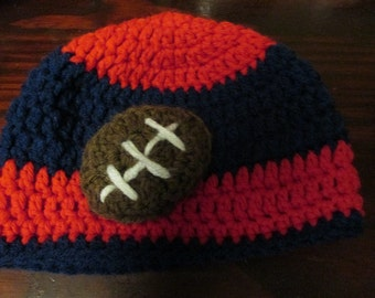 Baby Size Football Fan Beanie Style Hat Red and Navy Blue Stripes 6 to 9 month size