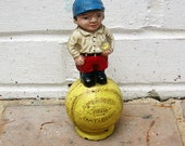 Vintage Bank Vintage Iron Baseball Bank Vintage American and National League Baseball Boy Bank