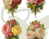 Flower Scrapbooking Printable Package Digital Rose Clip Art Botanical Vintage Instant Download