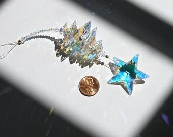 "Crystal Star Window Hanger, AB Crystal Glistens in Low Light, Star Suncatcher, Star Car Charm, Swarovski Crystal Suncatcher - ""CELESTE II"""