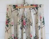 Set Vintage Barkcloth Curtains Drapes, Vintage Pink Curtains, Floral Barkcloth Fabric, Pink Barkcloth Fabric, Vintage pinch pleat curtains