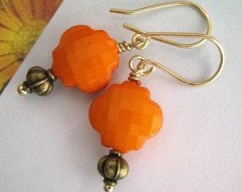 Orange Earrings, Persimmon Orange and Antique Gold Earrings, Tangerine Orange Earrings