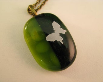 Spring Green Fused Glass Butterfly Pendant, Green Pendant Necklace, Butterfly Pendant