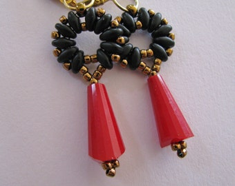 Black and Red Superduo Earrings, Black and Red Earrings, Leverback Earrings
