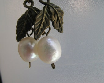 Freshwater Pearl and Antique Bronze Earrings