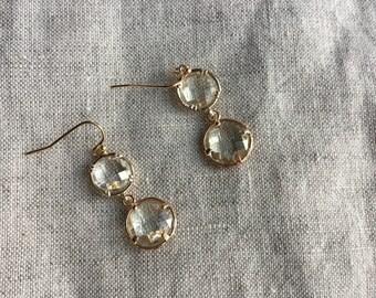 Rose Gold Crystal Drop Earrings