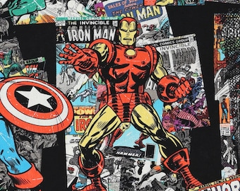 Marvel Comic SuperHero on Black and White Fabric by the yard