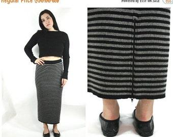 FLASH SALE 90s Knit Striped Maxi Skirt / Minimal Grunge Black and Grey Sweater Skirt with Zipper Detail / Size M/L Medium Large