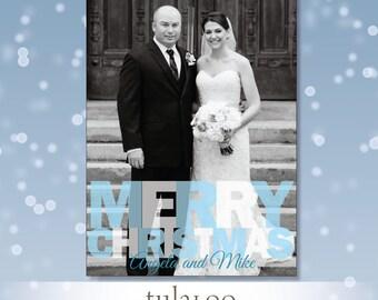 MERRY CHRISTMAS - bold modern typography - Holiday Photo Card - PRINTABLE
