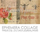 Ephemera Collage Digital Junk Journal Printable Pages Paper Pack