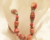 Vintage Handmade 17 Inch Choker Necklace in Beautiful Colors of Red, Turquoise, Cream, and Brown Unsual Shaped Resin Beads (J85)