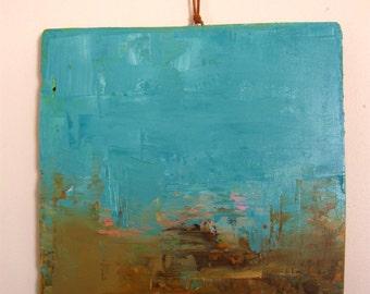 Desert landscape,  Original oil painting on salvaged wood