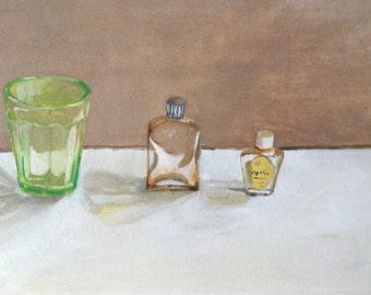 Three Bottles, Original oil painting on paper